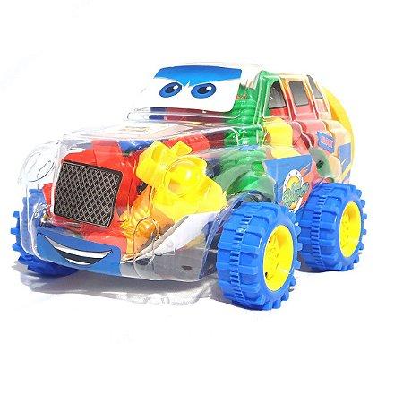 Brinquedo Carrinho Transparente Com Blocos De Montar