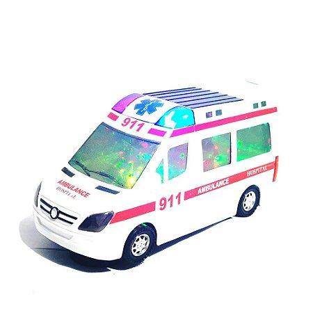 Carrinho De Ambulância Hospital Com Som Led Bate E Volta