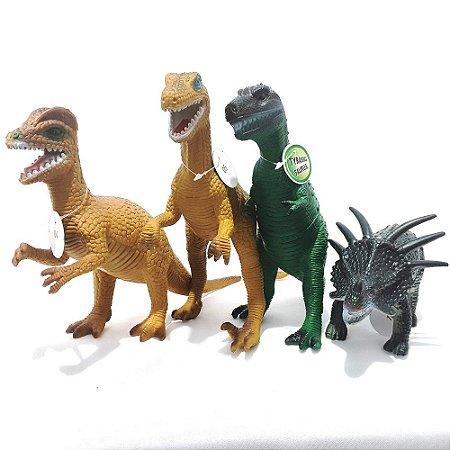 Kit 4 Super Dinossauro Tamanho Grande Verde Escuro