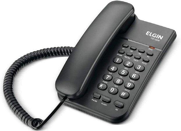 Telefone com Fio com Memória Elgin TCF2200 Preto, Elgin, TCF2200, Preto
