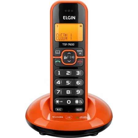 Telefone sem Fio Elgin TSF 7600 com Identificador de Chamada Laranja