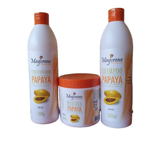 Kit Fortalecedor Papaya 500ml Maycrene (shamp + Cond + Másc