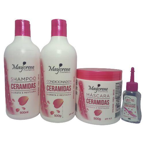Kit Revitalizante Ceramidas Maycrene (shampoo + Cond + Máscara+Oléo)