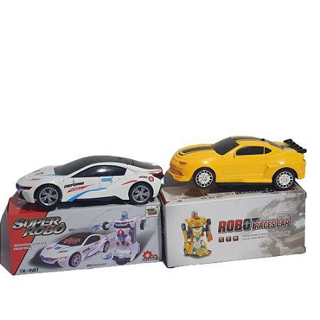 Kit 2 Carrinhos Com Luzes Som Bate E Volta Camaro E Bmw