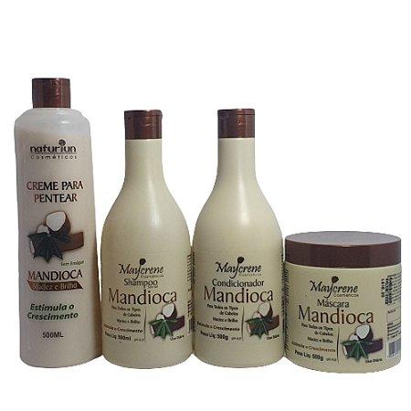 Kit Mandioca Maycrene (shamp+cond+másc+creme De Pentear