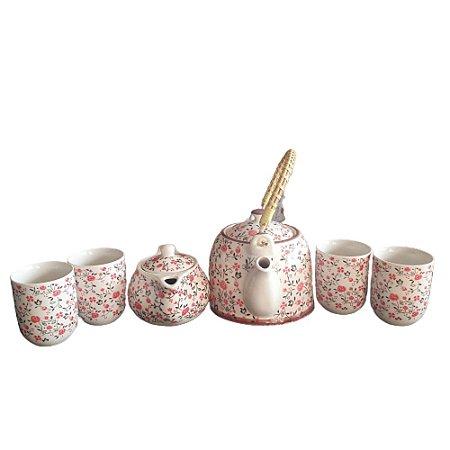 Kit Bule Chaleira Porcelana Chinesa+ Mini Bule+ 4 Copos