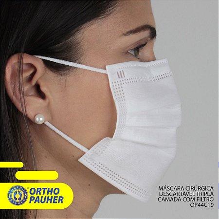 Máscara cirúrgica tripla camada com filtro 50 unid. - Orthopauher
