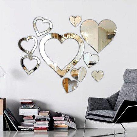 Espelhos Decorativos em Acrílico Kit 10 Corações esp005