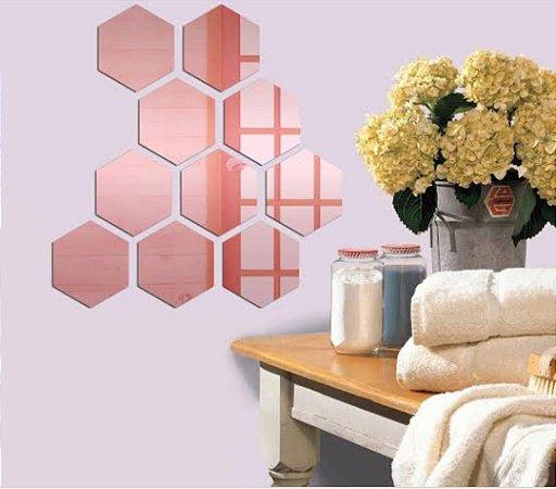 Espelhos Decorativos em Acrílico Colmeia Rose Gold Promoção
