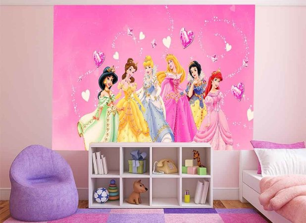 Adesivo de Parede Princesas Disney Pequeno 50cm x 50cm