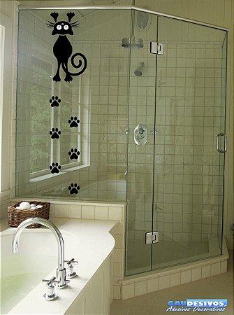 Adesivos para Box de  Banheiro Gato com Patinhas