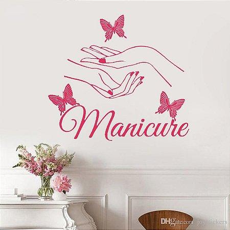 Adesivo de Parede Manicure com Borboletas Rosa