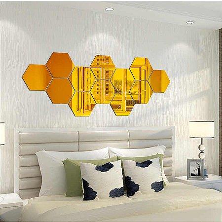 Espelhos Decorativos em Acrílico 12 Peças Dourado
