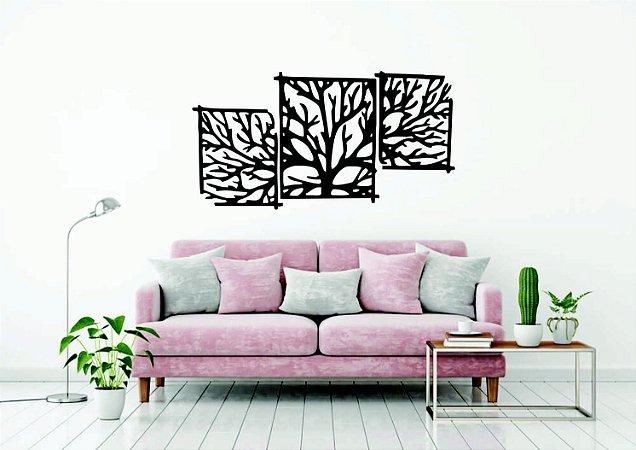 Quadros Decorativos 3 Peças  Árvore em PS Preto 150 x 79 CM