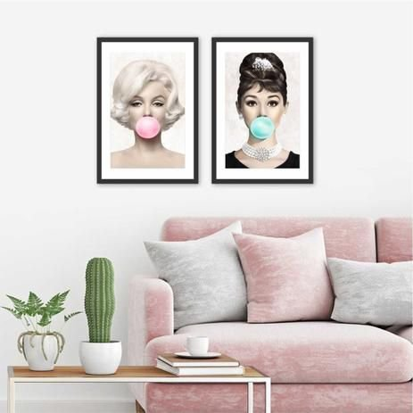 Kit 3 Quadros Decorativos Audrey Hepburn & Marilyn Monroe Chiclete