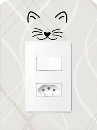 Adesivo de Interruptor Gatinho Sorrindo