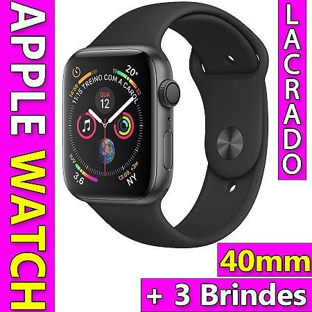 d86af4bc3 Apple Watch Series 4 Caixa 40mm Space Grey Pulseira Preta GPS Novo Lacrado  + 3 Brindes
