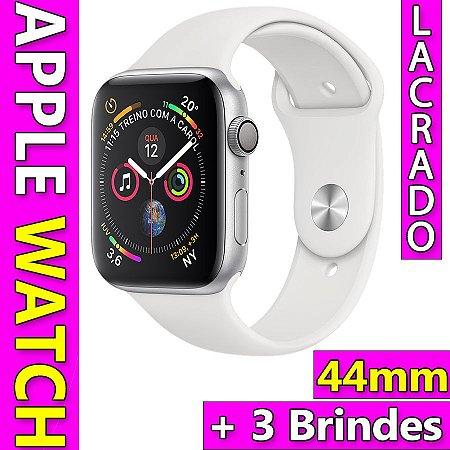 bf640419d9c Apple Watch Series 4 Caixa 44mm Prateada Pulseira Branca GPS Novo Lacrado +  3 Brindes