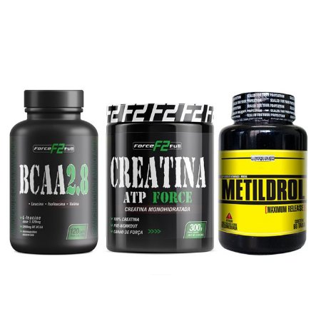 Combo - Massa Muscular - Metildrol 60 Tablets - Creatina F2 300G - Bcaa 2.8 F2 120 Capsulas