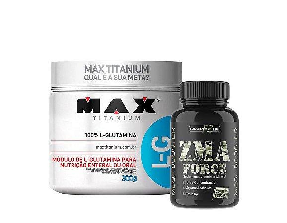 Glutamina 300gr max titanium + Zma Force 120 cápulas