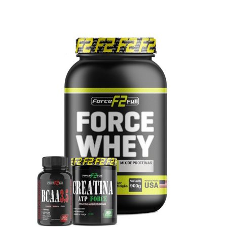 Whey Force Isolado 900g + Bcaa 3.5 + Creatine 300g - F2 Force Full