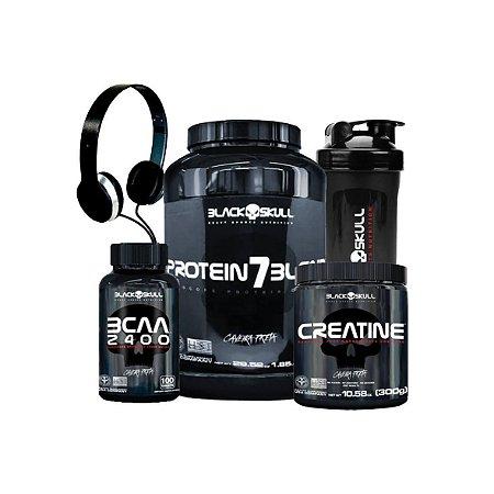 Kit Whey Protein 7 + BCAA 2400 + Creatina 300G + Coqueteleira + Fone - Black Skull- CARAMELO