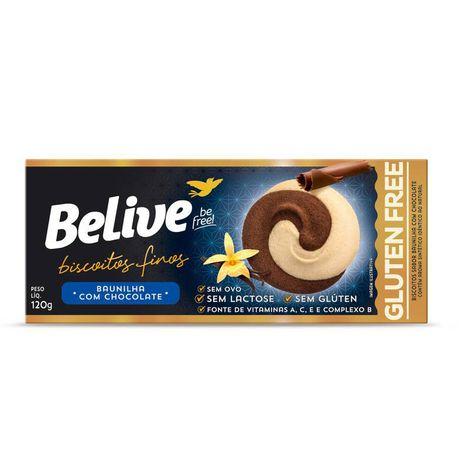 Belive - Biscoitos Finos Sabor Baunilha com Chocolate 120g