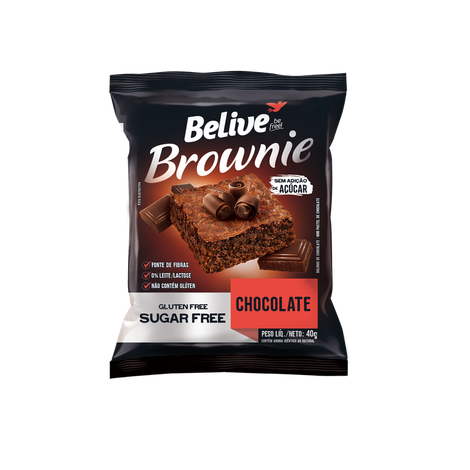 Belive - Brownie Sabor Chocolate Zero Açúcar 40g