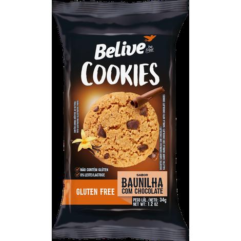 Belive - Cookie Sabor Baunilha com Pedaços de Chocolate 34g