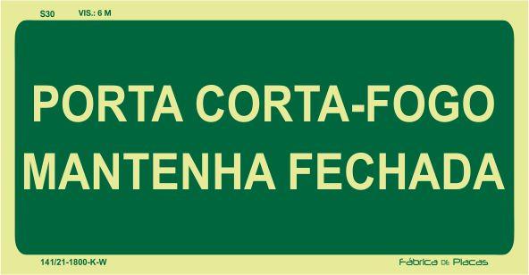 PLACA FOTOLUMINESCENTE - ROTA DE FUGA S30