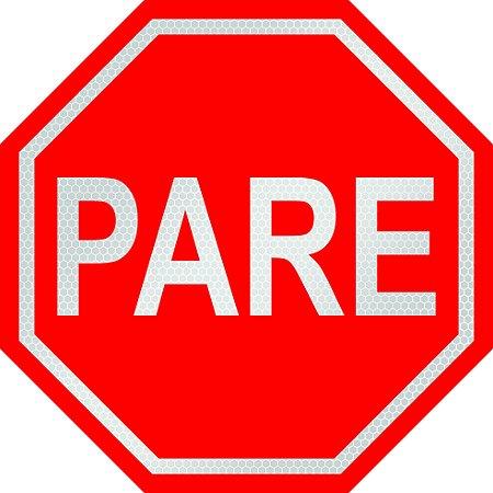 PLACA DE REGULAMENTAÇÃO - PARE - R-1