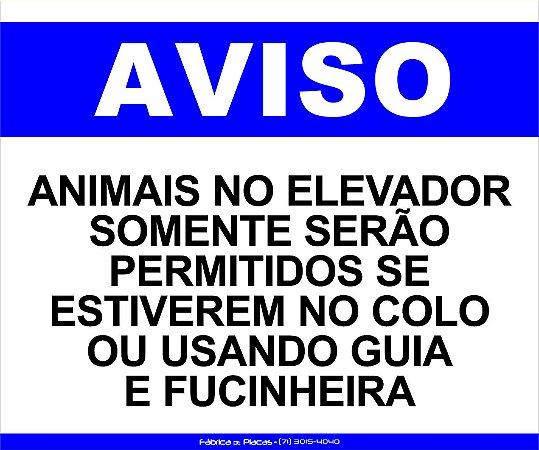 PLACA - AVISO ANIMAIS NO ELEVADOR 30X20CM AZ