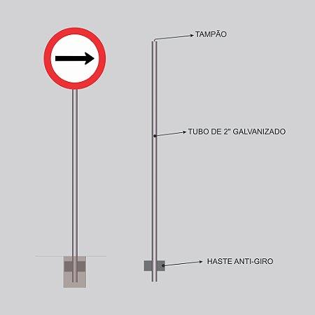 """Postes para Placas - Tubo de 2"""" galvanizado."""