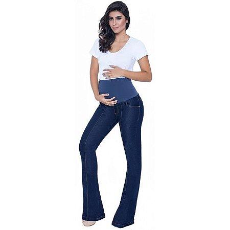 Calça Jeans Flare Gestante