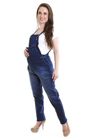 Macacão Jeans Longo Gestante