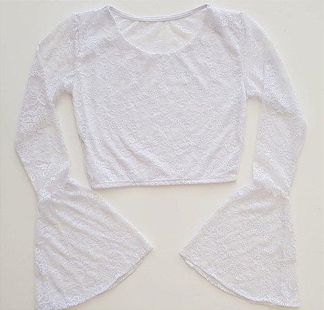 Cropped Branco Manga Longa