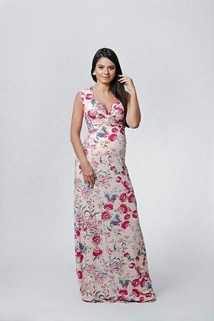 Vestido Longo Floral Gestante