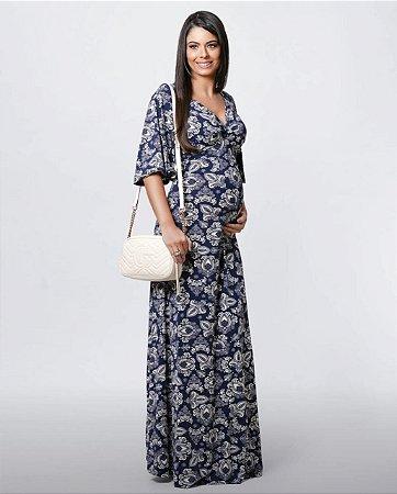 Vestido Longo Gestante Estampado Matterna