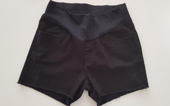 Shorts Jeans Preto Gestante Megadose