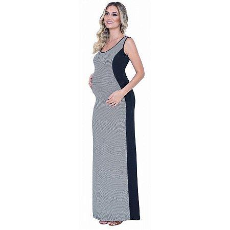 a9adc1cd7 Compre Online Vestido Longo Gestante Listrado Preto | Mãe na Moda ...