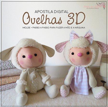 Apostila Digital Ovelhas 3D Artes em Feltros by Juliana Cwikla
