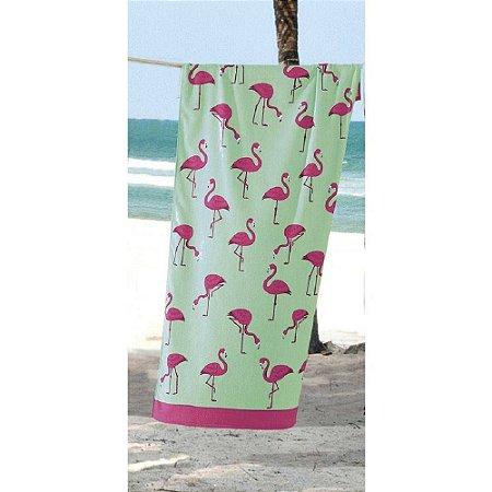 714c049a1 Toalha de Praia Velour Flamingos Döhler - Sacaria Sena - Cama