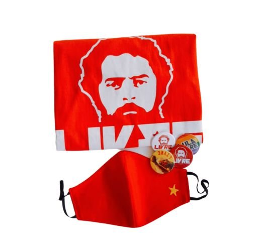 Combo Lula Livre - 6 pçs - camisa, máscara e bottons