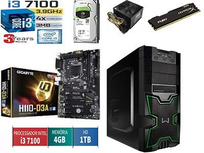 Computador Core i3 7100 placa mãe Gigabyte 4gb ddr4 Hd sata 1 terabyte