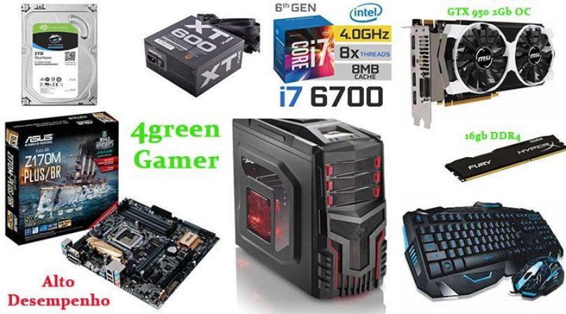 Computador Core i7 6700  memoria 16 gb ddr4+  HD 2Tb + gtx950 2gb Oc teclado e mouse gamer