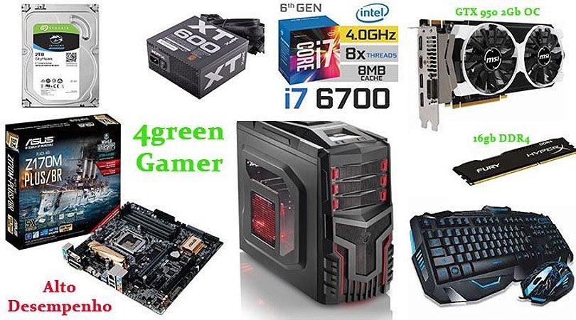 Computador Core i7 6700  memoria 16 gb ddr4+  HD 2Tb + gtx950 2gb Oc teclado e mouse gamer