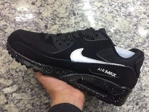 f2b284d6325 Tênis Nike Air Max 90 Brush Black Preto + RELÓGIO CASIO DE BRINDE ...