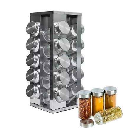 Porta Tempero Condimento Giratório Quadrado em Aço Inox Com 20 Potes em Vidro Transparente