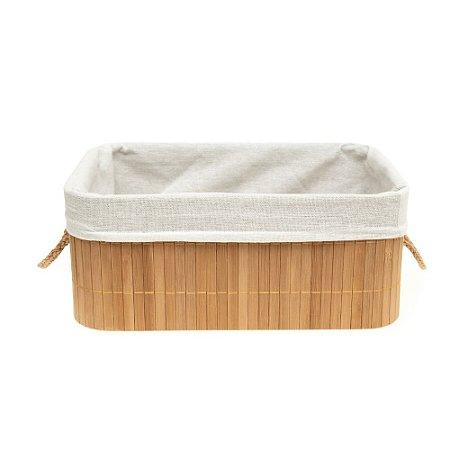 Caixa Cesto Organizador em Bambu Natural Com Interior em Linho 32x22cm Retangular Organização