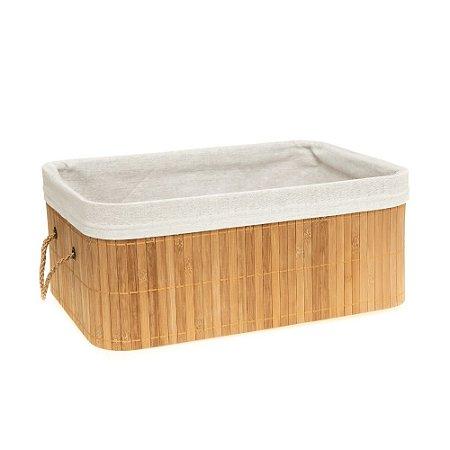 Caixa Cesto Organizador em Bambu Natural Com Tecido Linho 37x26cm Retangular Organização Casa